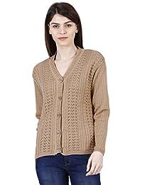 URBAN STUDIO Women's Full Sleeve Woolen Sweater (A La Mode_BE_M,Beige,Medium)