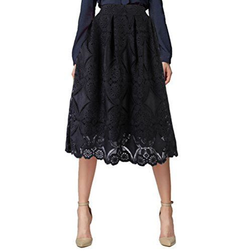 Uideazone 1950s Vintage Floral Lace Midi Skirt Full Circle Knee Length A-Line Skirt Black XL (Lace Circle Rock)