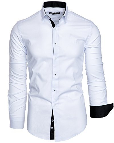 Amaci&Sons Herren Slim Fit Hemd Bügelleicht Business Freizeit Shirt 50001 Weiß XL