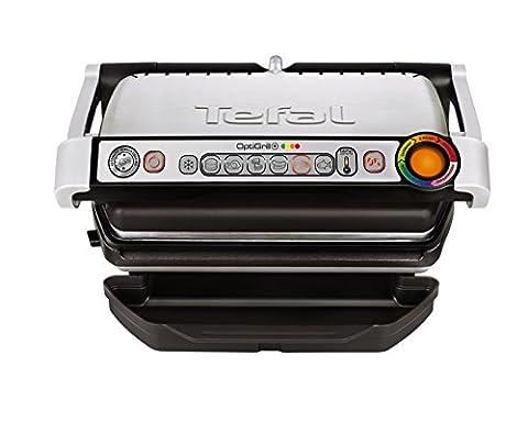 Tefal GC712D12 Optigrill plus, Plus-Modell mit zusätzlichen Temperaturstufen, 2000 W, automatische Anzeige des Garzustandes, 6 voreingestellte Grillprogramme, (Burger Bar)