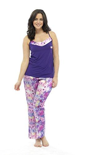 Wolf & Harte classique pour femme en Satin Imprimé Floral Lounge Ensemble Pyjama avec Short Motif usure Violet - Violet
