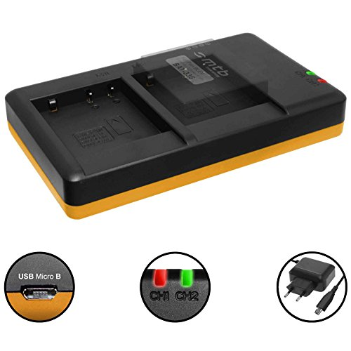 Dual-Ladegerät (Netz, USB) für Panasonic DMW-BLE9(E), BLG10(E) / DMC-GF6, GX7, GX80,TZ91, TZ101 ... / Leica BP-DC15 - inkl. 2A Netzteil (2 Akkus gleichzeitig ladbar)