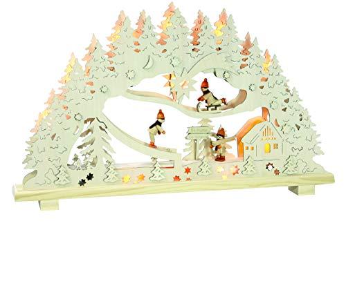 Dekohelden24 Hochwertiger 2D Schwibbogen, 10 flammig mit 3 lustigen Schneemannfiguren, ca. 55 x 6 x 33 cm