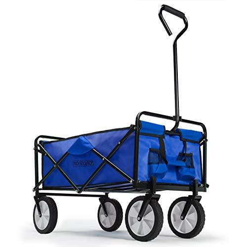 Deuba Bollerwagen Faltbar Handwagen Gerätenwagen | bis 100kg | Blau | Vollgummireifen | Leichter und Schneller Aufbau