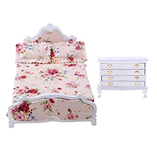 D DOLITY Handmade 1/12 Wooden 4-Drawers Night Table & Floral Bed for Dolls House Bedroom Accessories