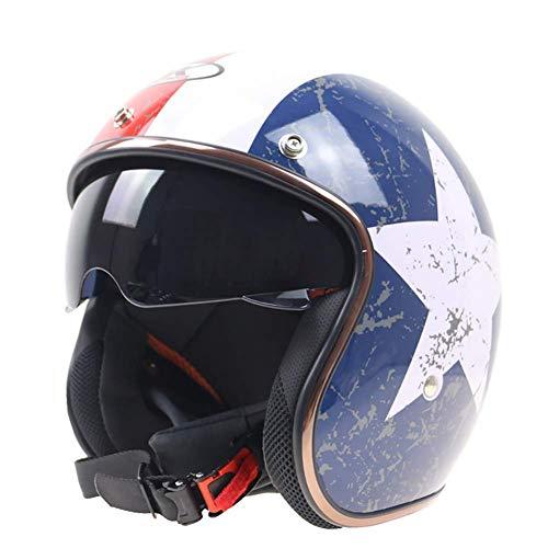 LALEO Personalidad Vintage Harley Cascos Moto Half-Helmet con Gafas Integradas, Patrón de Estrella Alta Dureza Transpirable Adulto Unisex Dot/ECE Certificado...