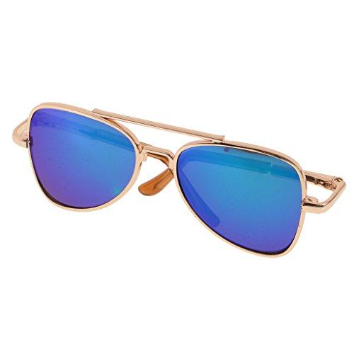 MagiDeal Süße Puppen Brille Sonnenbrille aus Legierung für 1/6 Blythe Puppen Zubehör - Blau
