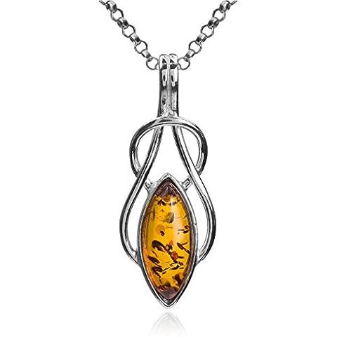 Noda colgante de plata de ley con ámbar miel Marquise celta y cadena 46 cm