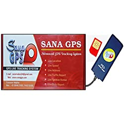 Sana GPS Tracker With Free One Year Software and Sim Recharge for Car,Bus,Truck Etc (Waterproof + Engine Lock)