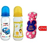 Gilli Shopee Bottle Cover Free With Mee Mee Premium Baby Feeding Bottle, 250ml Pack Of 2 (Blue & Yellow)