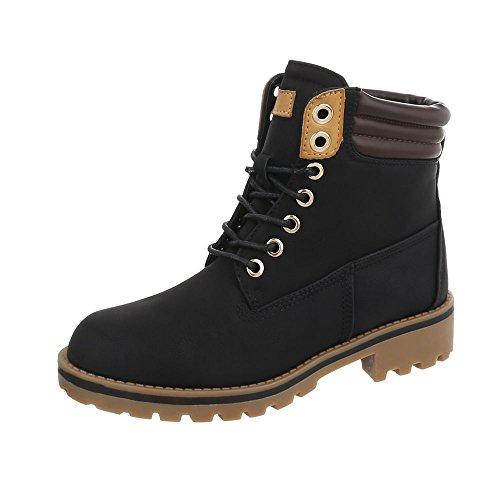Ital-Design Schnürstiefeletten Damen-Schuhe Schnürstiefeletten Blockabsatz Schnürer Schnürsenkel Stiefeletten Schwarz, Gr 39, A-53-