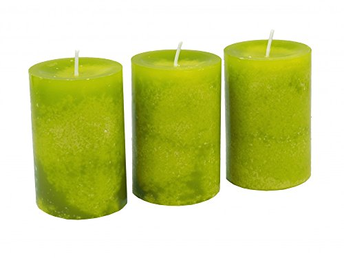 3 Stumpenkerzen Kerzen Grün Kommunion Konfirmation Tischdeko Hochzeit Ostern Frühling