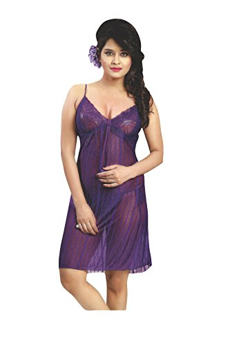 Indiatrendzs Women Nighty Net Transparent Purple Fancy Short Night Dress With Lingerie set Pack Of 3