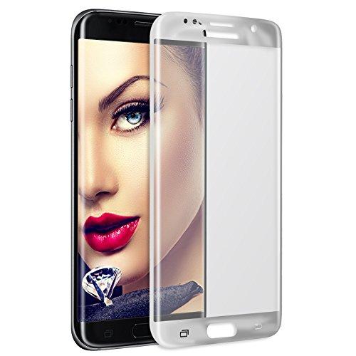 mtb more energy® Gewölbtes 3D Schutzglas für Samsung Galaxy S7 Edge (SM-G935, 5.5'') - silberner Rahmen - Curved Full Display Glasfolie