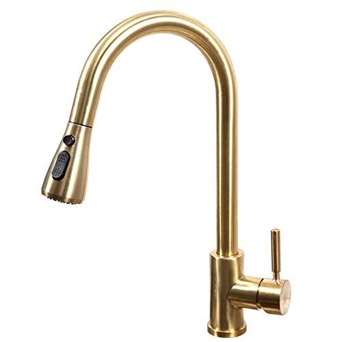 Einhand-Hochlichtbogen Nickel gebürstet Küchenarmatur herausziehen, einstufige Edelstahl-Spüle Wasserhahn mit Pull-Down-Sprayer - Pull-down-spüle