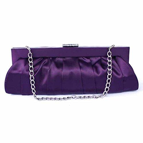 Donne Di Modo Classico Trousse Nuova Seta Pieghe Borsa Da Sposa Purple