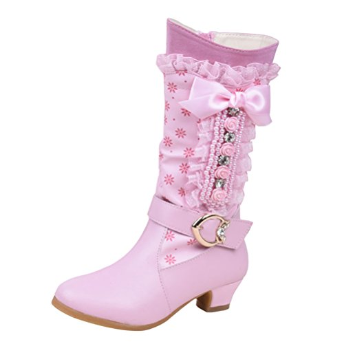 Zhhlaixing Pink Kinder Cute Bowknot Floral Low Heels Princess Shoes Girls Winter Warm Snow Boots Non-Slip (Heels Cute)