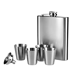 Premier Housewares Hip Flask Set, 4 Pieces - Stainless Steel
