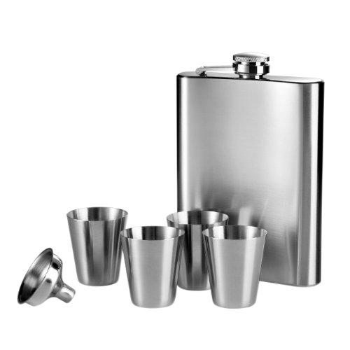 Premier Housewares 0508270 Flachmann Set 8 Unzen-Flasche 4Tassen Trichter, Edelstahl -