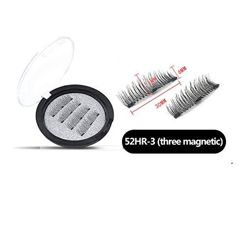 Allouli 4 pcs Magnet drei Falsche Wimpern Magnetisches gefälschtes Wimpern-natürliches Make-up 3D