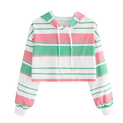 MIRRAY Damen Herbst Langarm Streifen Rundhals Kapuzenpullover Bluse Tops Pullover