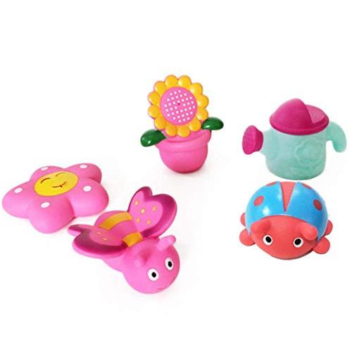 FeiyUan 5pcs Bad Spritzer & Sounding Dabbling Baden Spielzeug Baby Spray Wasser Blumen Mädchen - Netzwerk Tasche 5