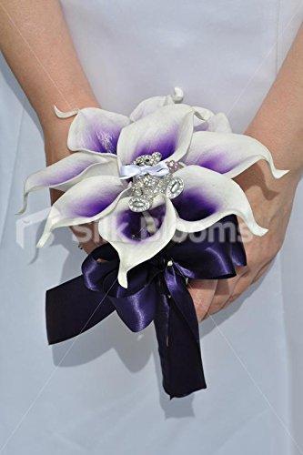 morado-vermeer-lily-w-broche-para-damas-de-flores-boda-ramo