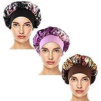 Ruiqas 3 Pack Satijn Slaap Cap Slaaphoofd Cover Elastische Brede Band Beanie Hoed voor Meisjes Vrouwen Koffie + Zwart + Paars