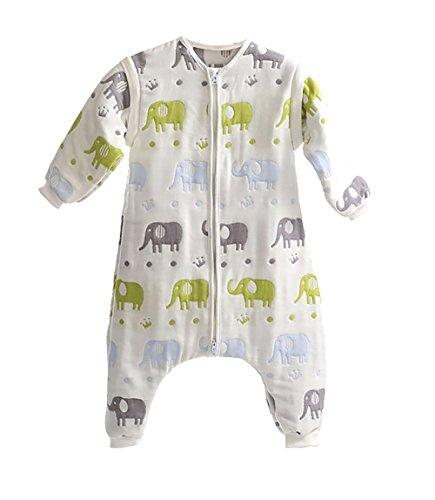 DaiShuGuaiGuai Baby Ganzjahres Schlafsack mit Füßen (Mehrfarbig) (Elefant) (L 80-90CM)