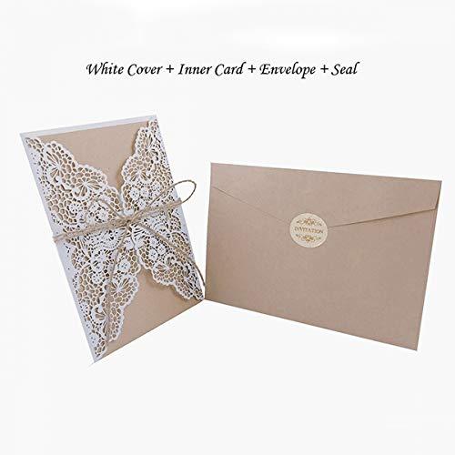 AOWEIRILUV 10 Stück weiße goldene Hochzeit Einladungskarte mit Blankopapier Druck Partei liefert