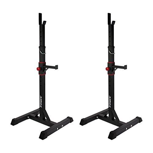 POWRX Hantelablage Paar | Hantelständer für Langhantel | Ständer höhenverstellbar | belastbar bis 100 kg