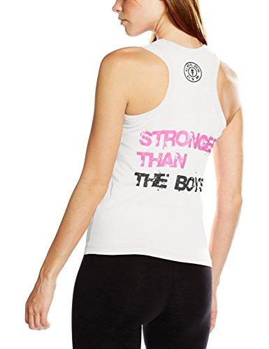 Golds Gym Muscle Joe Ladies Fitted Premium Muscleback Vest, Top de Sport Femme, Taille Unique Blanc