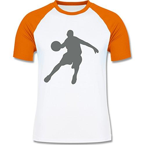 Basketball - Basketballspieler - zweifarbiges Baseballshirt für Männer Weiß/Orange