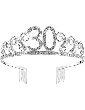 BABEYOND Crystal Rhinestone Tiara princesa de la corona de cumpleaños coronas de plata Diamante feliz 18/20/21...