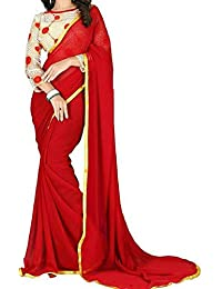 3d46e3fd70 Ekam Art Women's Crepe Georgette with Golden Gota Border Plain Saree with  Blouse (SR-