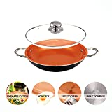 Copper Pan 14 Inch Nonstick Induction Compatible Frying Pan Dishwasher & oven Safe 14 inch wok casserole with lid (Black)