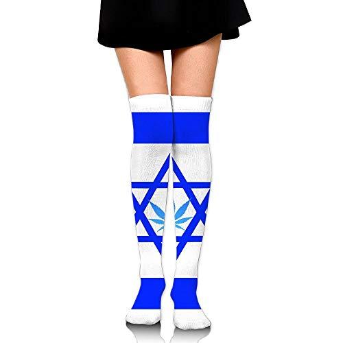 Rosa Schädel-knie-socken (CVDFVFGB Men's/Women's Israel Flag Weed Casual Crew Top Socks Knee Long High Socks)