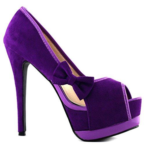 Show Story Sexy Damen 2 Tone Bow Peep Toe Plattform Stilett Pumpen Schuhe LF80900 Violett