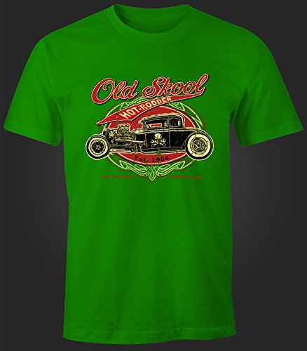Herren T-Shirt Old School Gearhead Hot Rod Grün