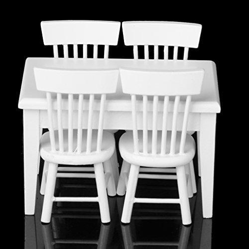 Wibille 5PCS in miniatura tavolo da pranzo sedia mobili in legno Set per 1: 12casa delle bambole --- bianco