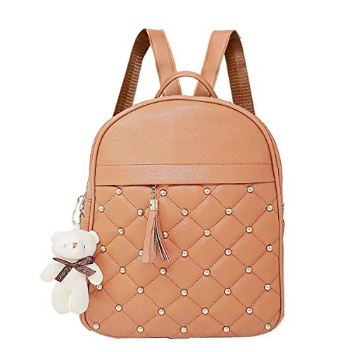 Da Eslingas® Leatherette Korean Style Teddy Keychain College Office Casual Backpack for Women and Girls