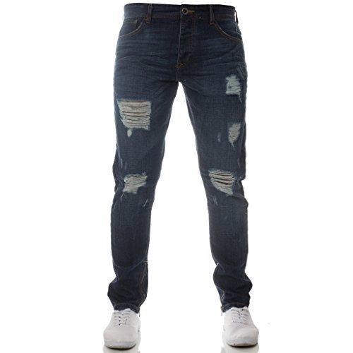 Neues Stilvolles Enzo markiert Zerrissen Designer Jeans schlanke Passform blau Leg Reißverschluss für zusätzliche Style - Dunkle Waschung, 32W x 32L (Schrittlänge Herren Jeans)