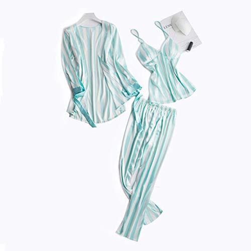 ABMBERTL Schlafanzug Netter Streifen-Frauen-Pyjama-Satz-reizvoller Silk Nachtwäscheanzug 3 PC-Nachthemd-RobekeuchtSatin-Nachthauptabnutzungs-Pyjama, Grün, XXL