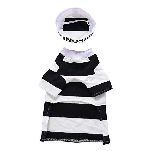 DTOWER Halloween Hund Kleidung,Welpen Baumwollstreifen-T-Shirt Welpen-Kostü Cosplay KostüM Kleidung FüR Kleinen Hund, Weiß M