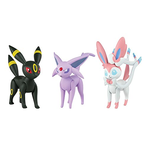 TOMY Pokémon acción Pose 3Figure Pack: Espeon, Umbreon, Sylveon