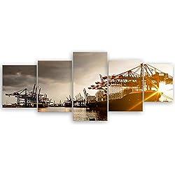 ge Bildet® hochwertiges Leinwandbild - Hamburger Hafen - 200 x 80 cm mehrteilig (5 teilig) 2047II
