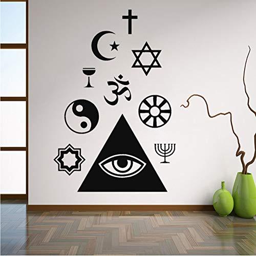 Comhju Ankunft Monochrome Wandtattoo Religion Christentum Islam Buddhismus Mason Vinyl Aufkleber Wohnkultur Wohnzimmer Wandbild 42 * 63 Cm