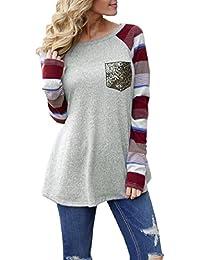 Preisvergleich für PAOLIAN Damen Rundhals Tunika Tops Bluse Pullover T-Shirt Splice Tasche lose Langarm Bluse Hemd Oberteil Tops