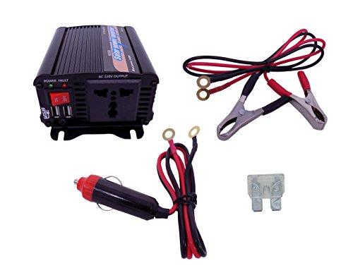 YJS 300W Solar Wechselrichter DC 12V to AC 230V 240V Transformator Auto Ladegerät Feuerzeug Adapter mit 3-poligem Stecker und Zwei USB-Anschlüssen