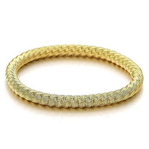 Elastische Edelstahlgewebe Damen Mädchen Armband Gold